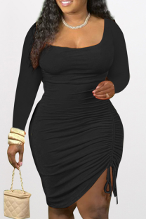 Black Sexy Solid Split Joint Square Collar Pencil Skirt Dresses
