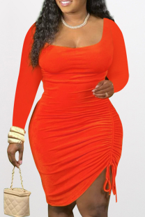 Tangerine Red Sexy Solid Split Joint Square Collar Pencil Skirt Dresses