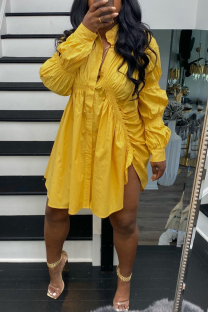 Yellow Street Solid Split Joint Buckle Fold Turndown Collar Shirt Dress Dresses
