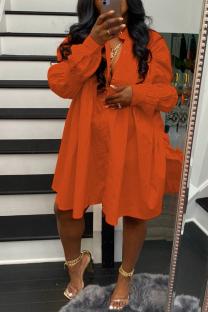 Tangerine Red Street Solid Split Joint Buckle Fold Turndown Collar Shirt Dress Dresses