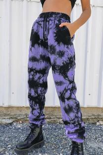 Purple Street Print Tie Dye Split Joint Harlan High Waist Harlan Full Print Bottoms
