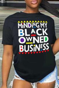 Black Casual Letter Print Split Joint O Neck T-Shirts