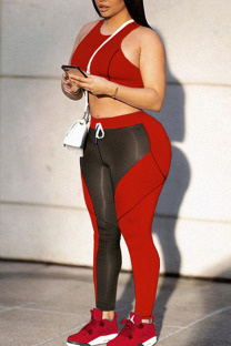 Red Sportswear Solid Split Joint  Contrast O Neck Sleeveless Two Pieces