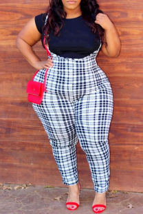 Black And White Casual Plaid Split Joint Plus Size