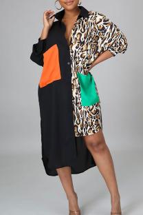 Leopard Print Casual Print Split Joint Turndown Collar Shirt Dress Plus Size Dresses