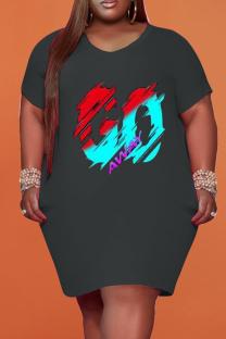 Black Fashion Casual Plus Size Print Basic V Neck Short Sleeve Dress