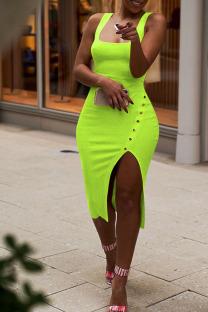Light Green Fashion Sexy Solid Asymmetrical Slip Asymmetrical Dresses