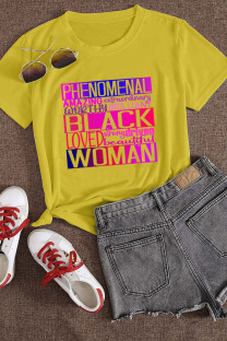 Yellow Casual Letter Print Split Joint O Neck T-Shirts
