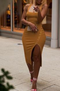 Brown Fashion Sexy Solid Asymmetrical Slip Asymmetrical Dresses