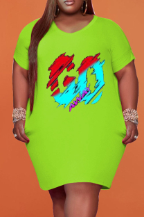 Green Fashion Casual Plus Size Print Basic V Neck Short Sleeve Dress
