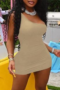 Khaki Fashion Sexy Solid Backless One Shoulder Sleeveless Dress