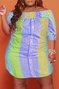 Orange Casual Cute Striped Print Off the Shoulder Straight Plus Size Dresses