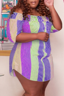 Purple Casual Cute Striped Print Off the Shoulder Straight Plus Size Dresses