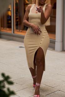 Khaki Fashion Sexy Solid Asymmetrical Slip Asymmetrical Dresses