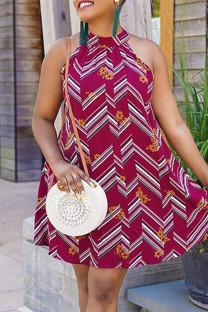 Fuchsia Fashion Casual Print Hollowed Out Half A Turtleneck Sleeveless Dress