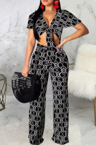 Black Sexy Print Bandage Split Joint V Neck Short Sleeve Two Pieces