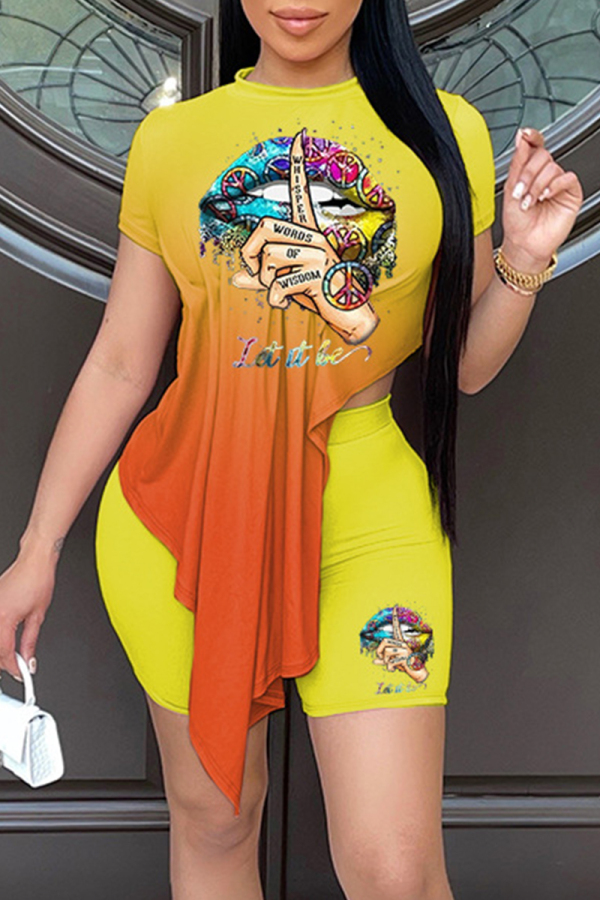 Yellow Fashion Casual Gradual Change Print Asymmetrical O Neck Short Sleeve Two Pieces