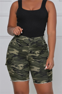 Camouflage Fashion Casual Camouflage Print Basic High Waist Regular Denim Shorts