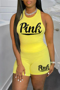Yellow Casual Sportswear Letter Print Vests O Neck Sleeveless Two Pieces