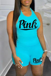 Light Blue Casual Sportswear Letter Print Vests O Neck Sleeveless Two Pieces