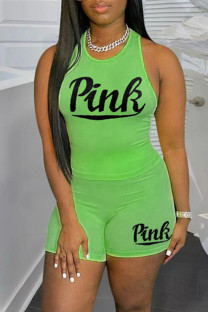 Green Casual Sportswear Letter Print Vests O Neck Sleeveless Two Pieces