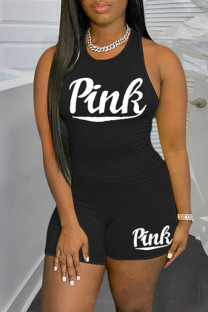 Black Casual Sportswear Letter Print Vests O Neck Sleeveless Two Pieces