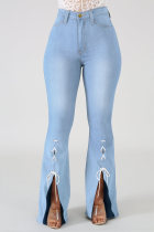 Baby Blue Casual Patchwork Draw String Mid Waist Boot Cut Denim Jeans