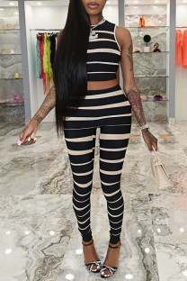 Black Fashion Casual Striped Print Vests Pants O Neck Sleeveless Two Pieces