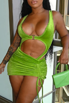 Green Sexy Solid Hollowed Out U Neck Sleeveless Two Pieces