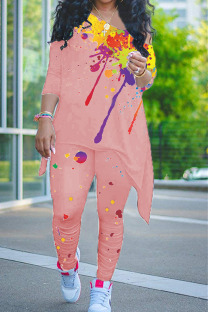Pink Casual Print Split Joint Asymmetrical O Neck Nine Points Sleeve Two Pieces