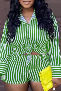 Green Casual Striped Split Joint Turndown Collar Long Sleeve Two Pieces