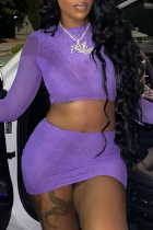 Purple Fashion Sexy Solid See-through O Neck Long Sleeve Two Pieces