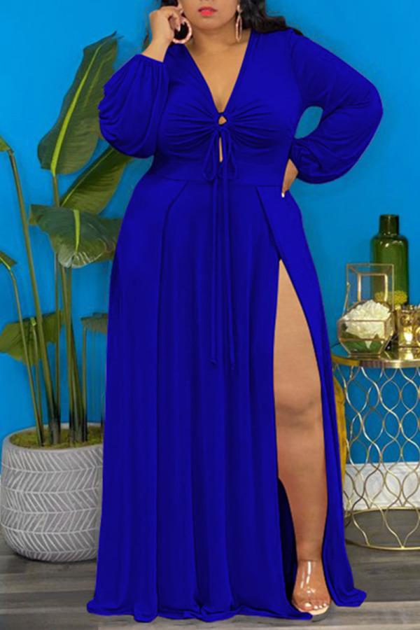 Deep Blue Elegant Solid Split Joint Frenulum High Opening V Neck Long Sleeve Plus Size Dresses