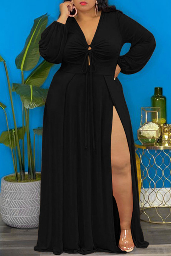 Black Elegant Solid Split Joint Frenulum High Opening V Neck Long Sleeve Plus Size Dresses