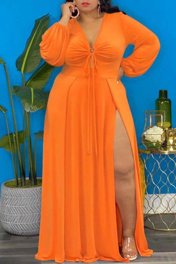 Tangerine Elegant Solid Split Joint Frenulum High Opening V Neck Long Sleeve Plus Size Dresses