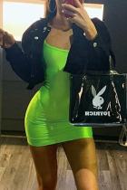 Fluorescent Green Sexy Solid Split Joint Strapless Pencil Skirt Dresses