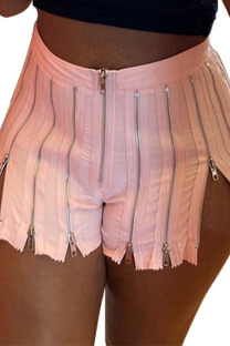 Pink Street Solid Split Joint Zipper Straight High Waist Straight Solid Color Bottoms
