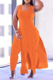 Orange Fashion Casual Solid Tassel Vests U Neck Plus Size Two Pieces