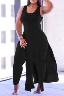 Black Fashion Casual Solid Tassel Vests U Neck Plus Size Two Pieces