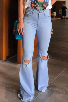 Blue Denim Zipper Fly Button Fly Mid Hole Patchwork Boot Cut Pants