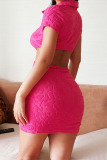 Rose Red Sexy Solid Hollowed Out Split Joint Buckle Turndown Collar Pencil Skirt Dresses