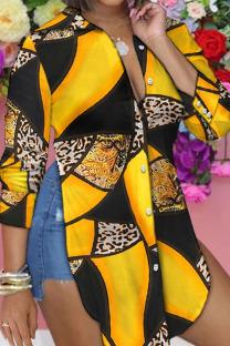 Black Yellow Casual Print Split Joint Slit Turndown Collar Tops