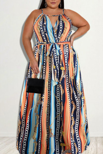 Deep Blue Sexy Print Split Joint Backless Spaghetti Strap Straight Plus Size Dresses