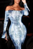 Blue Sexy Print Split Joint Off the Shoulder Pencil Skirt Dresses