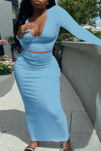 Sky Blue Sexy Solid Split Joint V Neck Long Sleeve Two Pieces