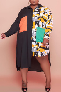 Colour Casual Print Split Joint Turndown Collar Shirt Dress Plus Size Dresses
