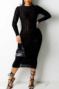 Black Sexy Print Hollowed Out Split Joint See-through Mesh O Neck Pencil Skirt Dresses
