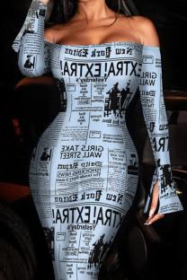 Letter Print Sexy Print Split Joint Off the Shoulder Pencil Skirt Dresses