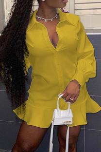 Yellow Casual Solid Flounce Turndown Collar Shirt Dress Dresses
