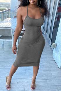 Grey Fashion Sexy Solid Backless Spaghetti Strap Sleeveless Dress